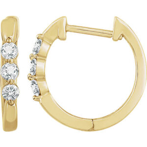 Image Is Loading Diamond Hoop Earrings In 14k Yellow Gold 1
