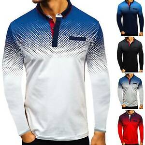 Mens-Gradient-Crew-Neck-Sweatshirt-Jumper-Top-Golf-Pullover-Sweater-Long-Sleeve