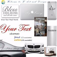 Custom Text Vinyl Decal Sticker Car Laptop Window Personalized Lettering Decor