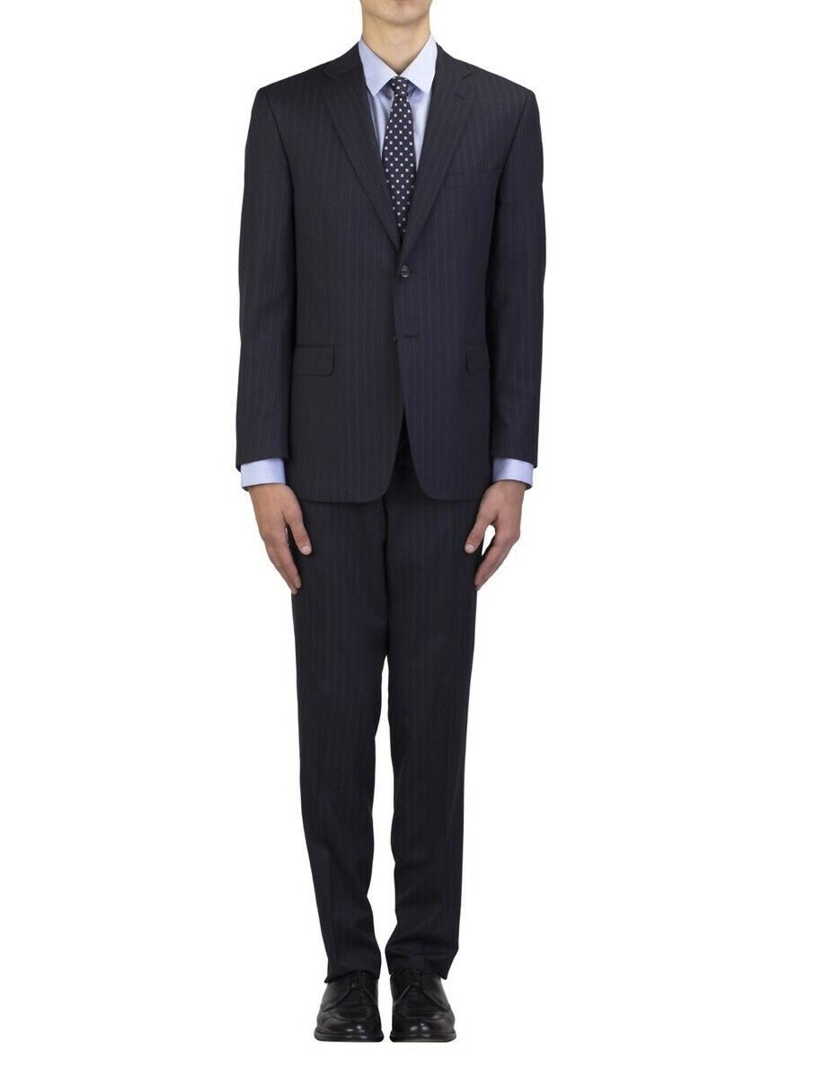 Brand New Versace Collection Navy Blau Thin Striped Suit Größe 54/44US 1395.00