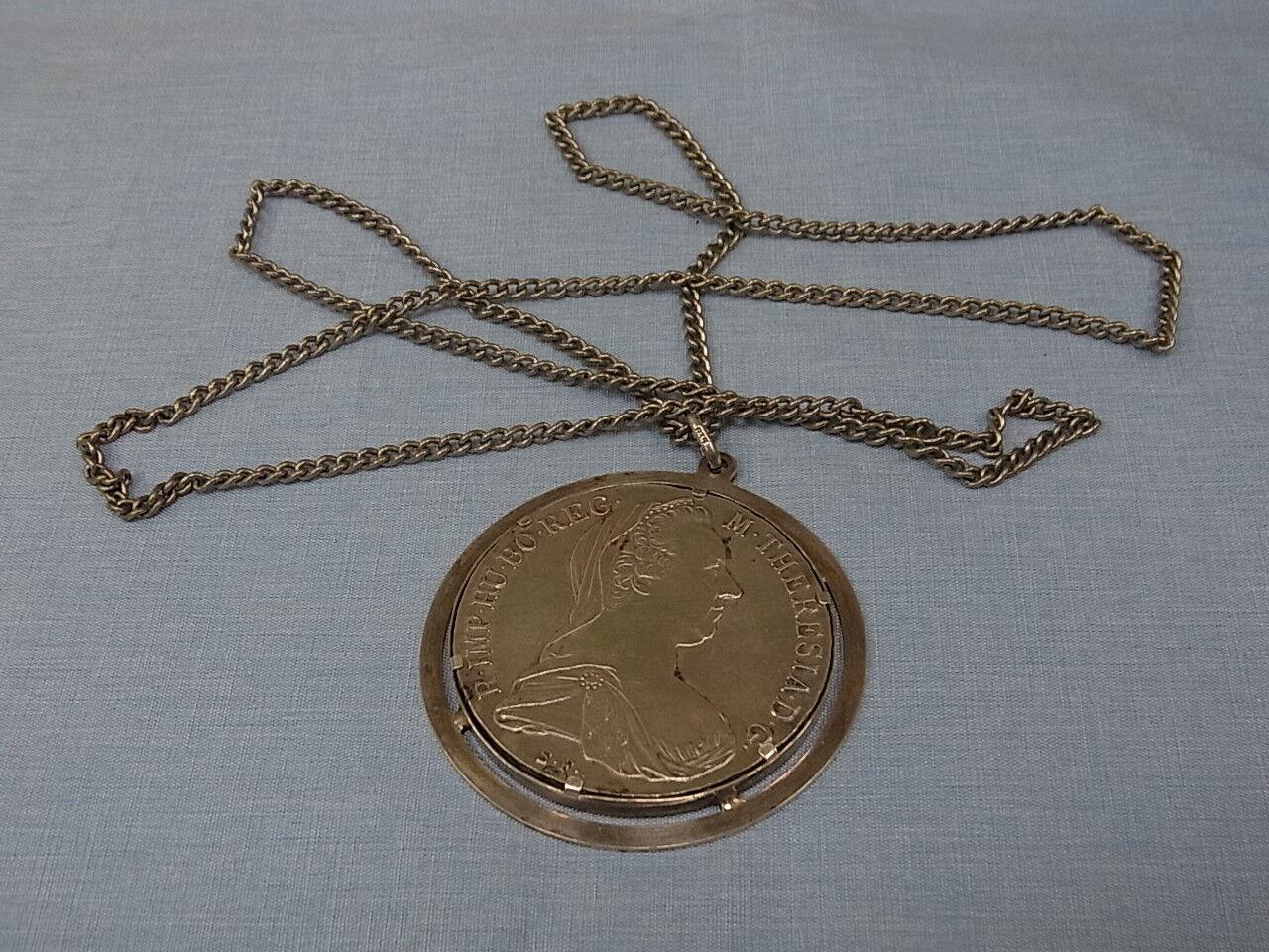 7537-835er silverkette mit Maria Theresia K-L 70 cm Taller mit Fassung d.m 5 cm