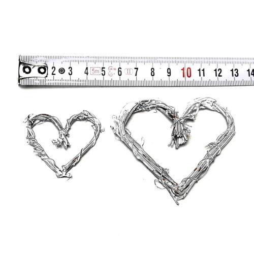 5cm!!! 12 Small Vines Hearts geweißt open 5cm//7 Thin