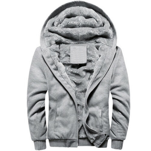 Men Fleece Lined Hooded Sherpa Jacket Plain Warm Thick Hoodie Coat Sweatshirt UK
