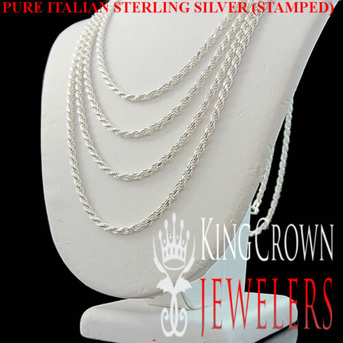 Real Sterling Silver Solid 925 Italy Made Diamond Cut Rope Chain Necklace 2 mm