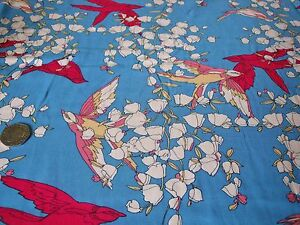 ITALIAN-VISCOSE-PRINT-BIRDS-AND-FLOWERS-BLUE-CERISE-IVORY-DRESS-FABRIC-FREE-P-amp-P