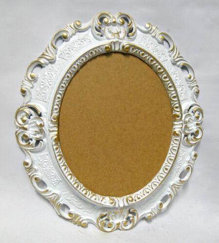 Miroir mural shabby blanc-or ovale maison de campagne ancien miroir de salle baroque 45x37 NEUF