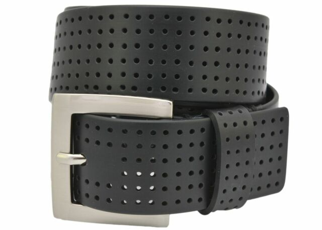 PGA TOUR Men/'s Perforated Fashion Color Silicone Belt Black 42