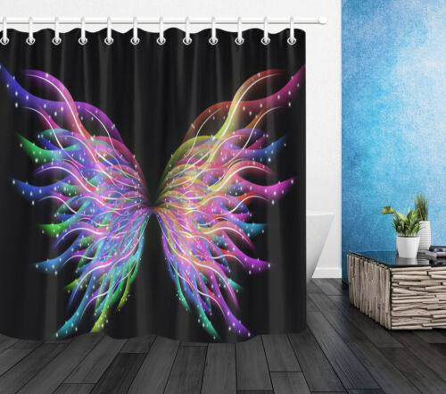 Abstract Butterfly Wings Shower Curtain Bathroom Waterproof With 12 Hooks Set