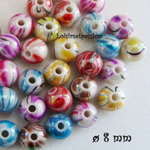 LOT de 25 PERLES RONDES ACRYLIQUE RAYURE MARBRÉ MULTICOLORE ** 8 mm ** PA02
