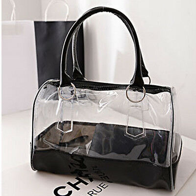 Women's Summer Jelly Candy Clear Transparent Handbag Tote Shoulder Beach Bag