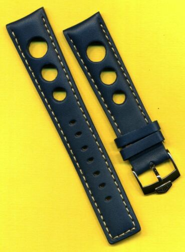 PRE TAG HEUER BUCKLE & 20mm & BLUE SPANISH LEATHER RALLY RACING BAND STRAP