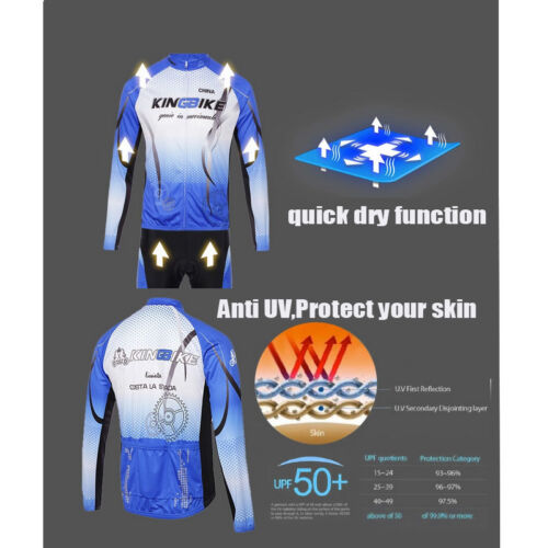 Men Bicycle Cycling Anti UV Long Sleeve Warm Clothes Jersey Pants Suit Winter