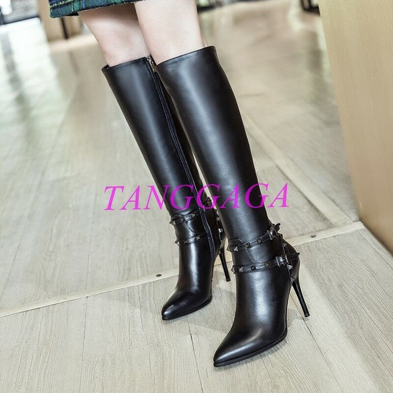 Fashion Womens Pointed Toe Rivet Rivet Rivet Knee High Boots Motorcycle Stilettos shoes Zip 6db86e