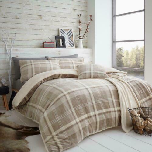 Teddy Bear Check Fleece Tartan Xmas Bedding Duvet Cover Set Cozy Warm Winter