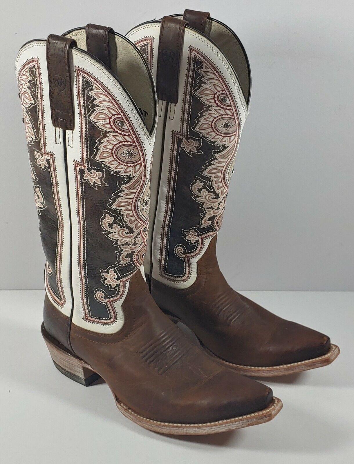 Ariat Almeda Weathered Brown Cowboy Boots 10011088 Womens Sz 7.5B