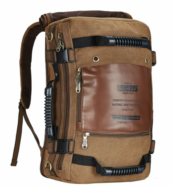 2c9792f60 Kaukko Mens Vintage Canvas Rucksack Leather Backpack . Khaki | eBay