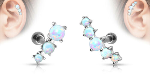 """1pc Prong Set Opals Tragus Helix Cartilage Ring 16g 1//4/"""" choose 3 or 5 opals"""