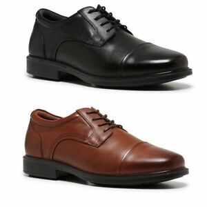 476df9a86dc MENS HUSH PUPPIES PETER BLACK TAN BROWN LEATHER LACE UP WORK FORMAL ...