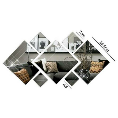 7pcs 3D Mirror Tiles Mosaic Wall Stickers Self Adhesive Bedroom Art Decal Home