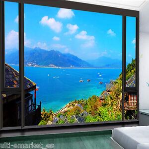3d ventana con paisaje foto papel pintado vinilo entero - Papel pintado paisaje ...