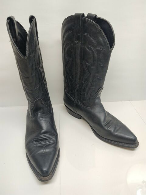 VITTORIO RICCI black leather flat western cowgirl boots sz 9