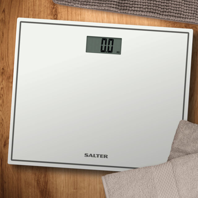 Salter Digital White Bathrooom Scales Compact Gl Profile Body Weighing 9207