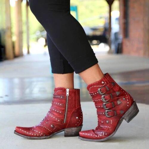 Women Cowboy Cowgirls Ankle Boots Low Block Heel Rivet Buckles Short Work Shoes