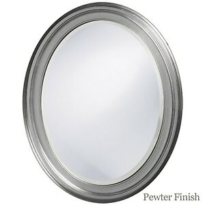 Oval Framed Bathroom Mirror Perfect For Vanity Wall Antique Pewter Ebay