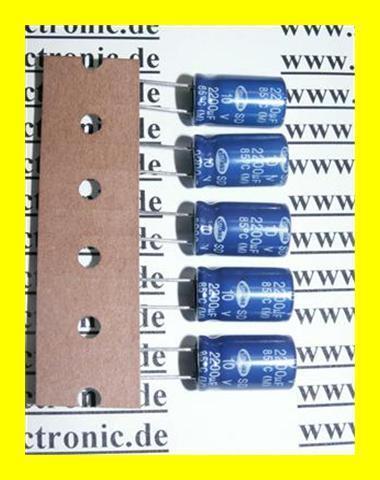 Kondensator Elko 2200µF 10V RA 5mm 85° 5 Stück