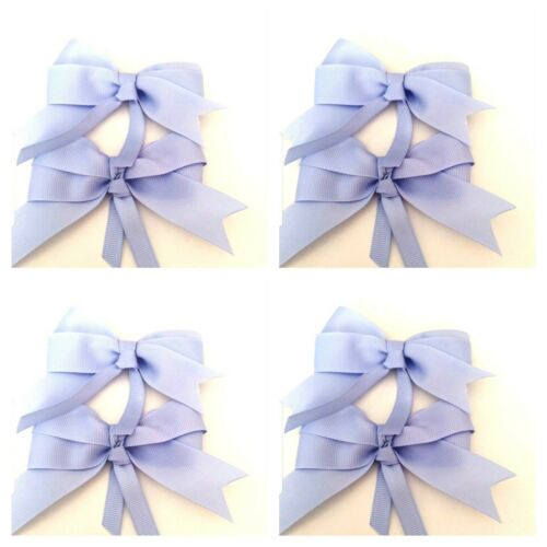 Handmade Girls Hair School Bow Clips Light Blue Sold In Pairs