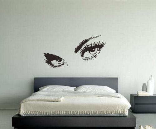 Wall Vinyl Sticker Poster Art Woman Female Eyes Eyelashes Face Eyebrows hi002