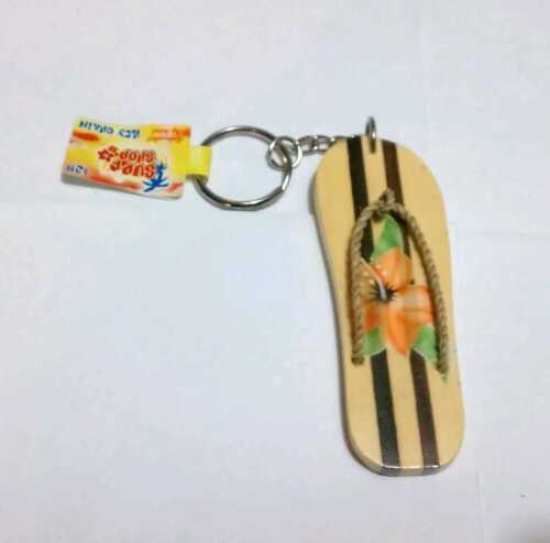 Airbrushed FLIP FLOP Flower Orange Striped Ocean ZIPPER PENDANT Wood Keychain