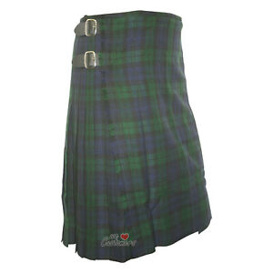 Scottish-Traditional-Youth-Black-Watch-Tartan-Kilts-For-Boys-3-Buckles-Straps