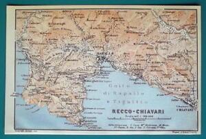 1931 Baedeker Map Italy Recco Rapallo Chiavari Environs