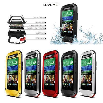 Waterproof LOVE MEI Shockproof Aluminum Gorilla Metal Case for HTC One E8 M8