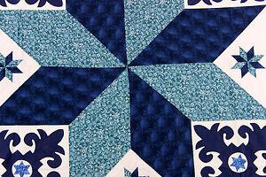 Blue and White Fleur de Lis hand applique Lone Star QUILT TOP Block borders