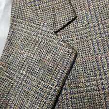 ROUNDTREE YORKE Men's brown tweed plaid Jacket Sport Coat silk linen Blazer 48 L