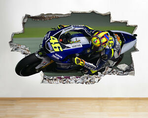 H176-Valentino-Rossi-46-Bikes-Smashed-Wall-Decal-Poster-Art-Stickers-Vinyl-Room