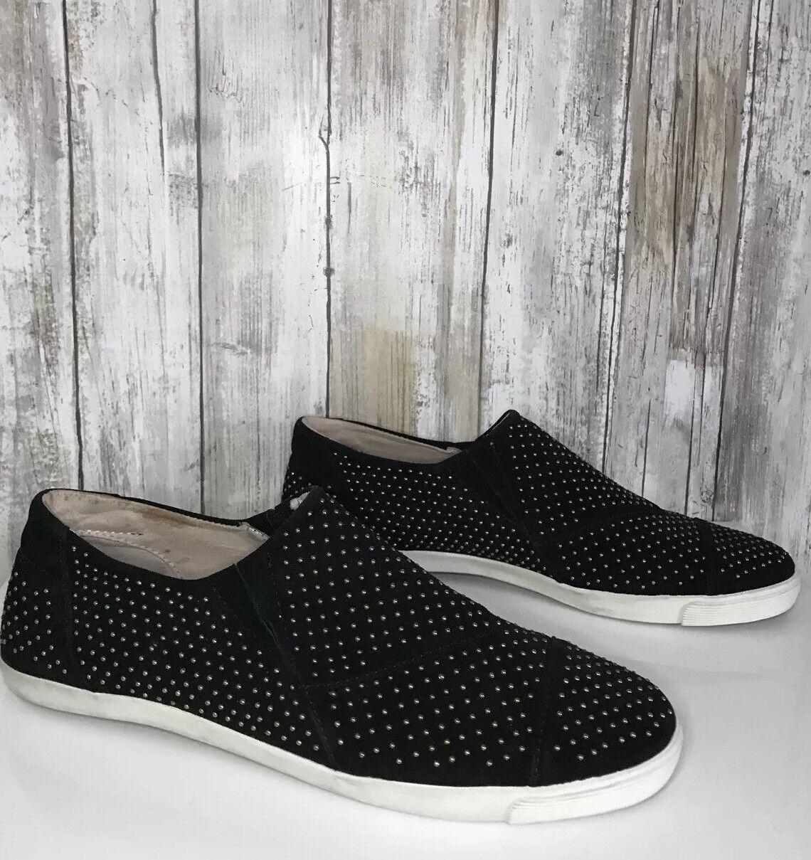 $270 AERIN Marina Black Suede Studded Stud Loafer Comfort Slip On Flats 7.5 *