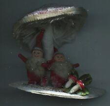 Weihnachten Erzgebirge 2 kleine Weihnachtsmänner 2 Nikoläuse unt.Fliegenpilzdach