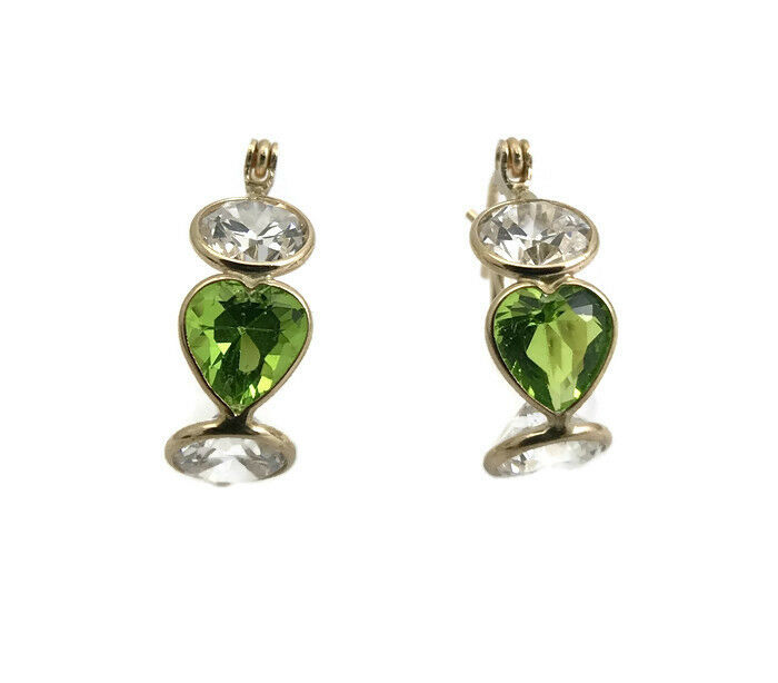 Green Peridot and CZ Gemstone Drop Hoop Earrings in 14K Yellow gold, 2.3 Grams