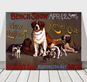 1890 New England Kennel Club Dog Dogs Boston Advertisement Vintage Poster Print