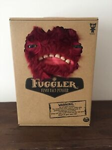 New-Fuggler-Funny-Ugly-Monster-Furry-Dark-Red-Soft-Toy-Wide-eyed-Weirdo