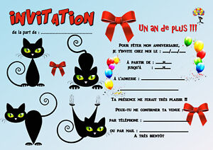 5 12 ou 14 cartes invitation anniversaire chat r f 413 ebay. Black Bedroom Furniture Sets. Home Design Ideas