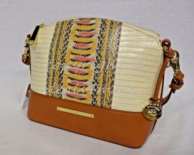 NWT! Brahmin Mini Duxbury Shoulder Bag Yellow Canyon - Cream/Brown