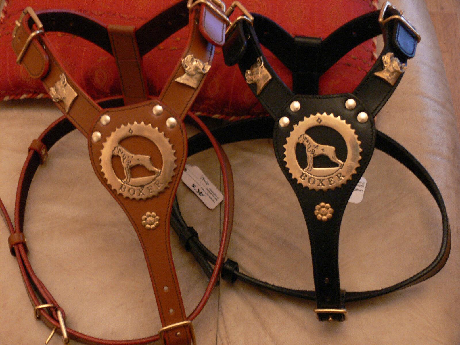 NUOVO boxer in cuoio harness con teste in ottone in Nero o Marronee