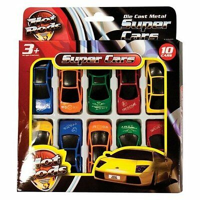 Hot Rods Super Cars F1 Play Set (10 Piece Die Cast Cars Set) Childrens Toy Set