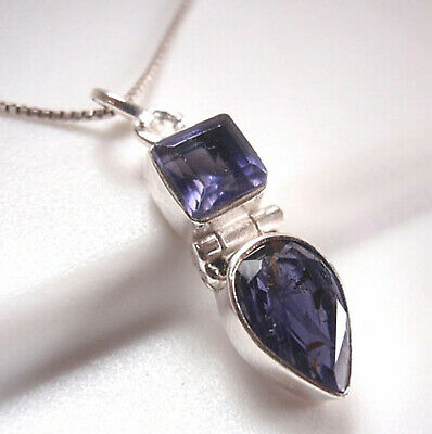 Faceted Iolite 925 Sterling Silver Necklace Corona Sun Jewelry d44b