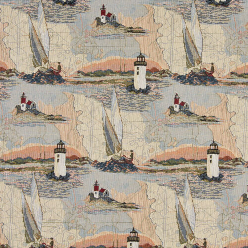 A006 Lighthouses Water Sailboats Themed Tapestry Upholstery Fabric By The Yard