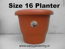 "16"" Gardening Pots - Terracotta Color Plastic Planter (Pack of Three)"